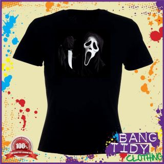 Halloween Costume Horror Scary Mask Scream Inspired Fancy Womens T