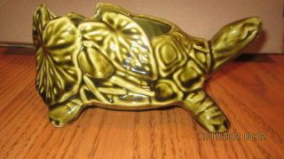 McCoy pottery turtle planter, vintage, dark green 551 USA Hairline