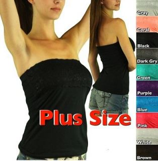 Pick Your Sexy Plus Size Comfy Lace Tube Top Strapless Bandeau Style