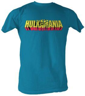 Hulk Hogan T shirt   Cracked Hulkamania Adult Turquoise Tee Shirt