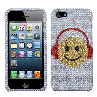 APPLE iPhone 5 Phone Case Cover Bling Rhinestones Music Smiles Diamond