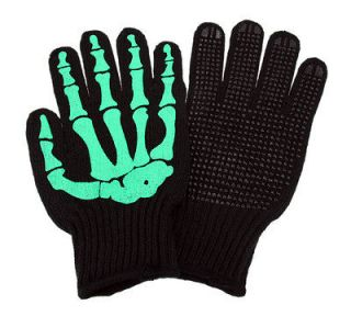 Green Skeleton Hand Knit Gloves Mechanics Work Biker OSFM