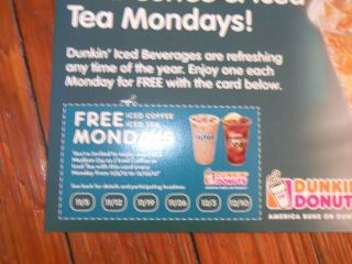 DUNKIN DONUTS COUPONS 5 FREE ICED COFFEE OR ICED TEA FREE SHIPPING!