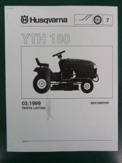 HUSQVARNA YTH 180 LAWN GARDEN TRACTOR MOWER PARTS LIST SERVICE MANUAL