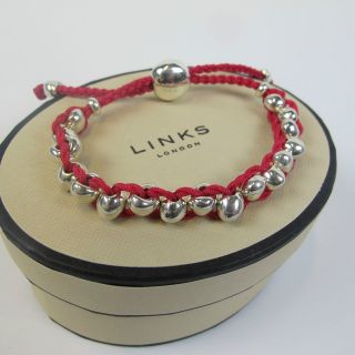 GENUINE Links of London Silver & Pink Beaded Friendship Bracelet sc3