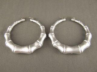 Brushed Silver big hoops bamboo earrings 2.5 wide door knocker hoop