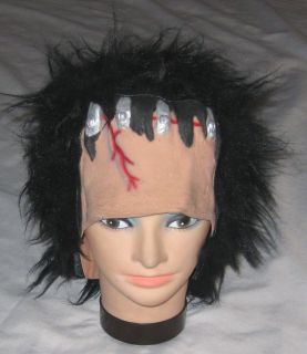 Black Hair w Bolts Monster Halloween Costume Hat Wig