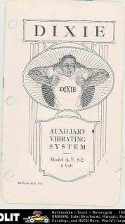Dixie AVS2 6 Volt Automobile Magneto Vibrator System Brochure