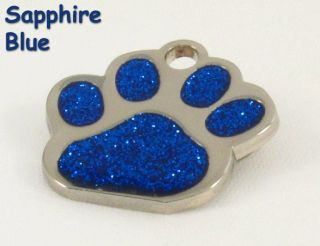Paw Print Pet ID Tag Custom Diamond Engraved Dog Cat Personalized