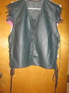 New Native American Cree Black Leather Lace Fringe Shirt Top Vest