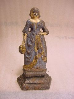 Cast Iron Doorstop Door Stop Lady in Long Dress dated 1922