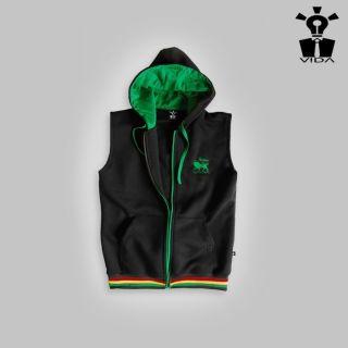 HOODIE SLEEVELESS Rasta Reggae Jamaica Lion of Judah VIDA Marley