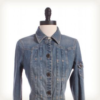 MARC JACOBS Pleated Denim Jacket Sz 4 Top Blue