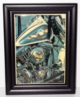 Beautiful Scott Jacobs Live To Ride Harley Art Framed Tile NEW