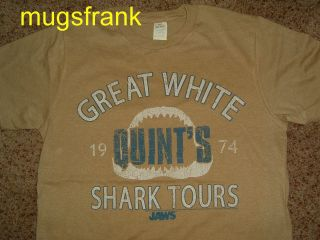 New Jaws Movie Quints Great White Shark Tours Tan T Shirt