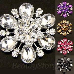 Austrian rhinestone crystal flower bouquet brooch pin