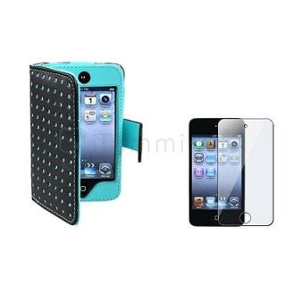 For iPod touch 4 4th G Gen Black/Blue Dot Leather Wallet Case Skin+LCD
