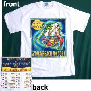 JIMMY BUFFETT BEACH ODYSSEY 2001 TOUR WHITE T SHIRT XL X LARGE NEW