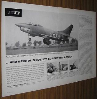1961 VINTAGE AD~BRISTOL SIDDELY ENGINES~NATO FIGHTER JET~ORPHEUS