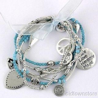 Karma Buddha Heart Peace Sign Hope Joy Charm Silver Turquoise