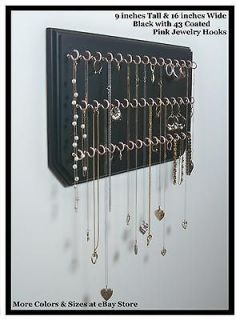 Pink, Necklace Ring Holder Jewelry Organizer Display Hanging Wall Rack