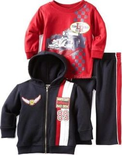 RACE CAR TEAM Size 24M 3pc Hoodie Jacket Shirt Pants Clothes NWT