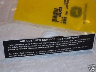 John Deere 140 Kohler Air Cleaner Decal NEW OEM