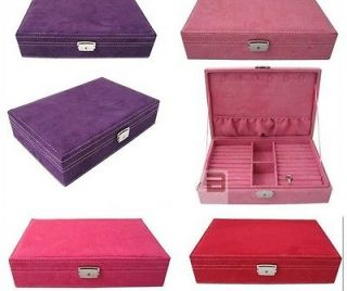 Fashion womens Large Velvet Jewelry Ring Storage Box Case 4 Colors
