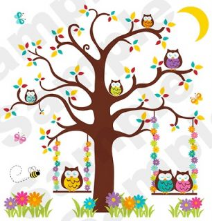OWL TREE BUTTERFLY BABY NURSERY KIDS ROOM WALL MURAL STICKERS DECALS
