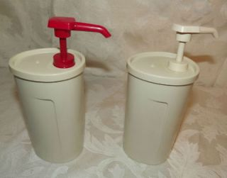 Set of 2 Tupperware Condiment Pumps Storage Ketchup Mustard or Mayo