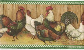 Country Kitchen Wallpaper Border / Roosters Wall Border/ Green Trim