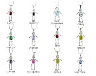 Solid Sterling Silver BOY CZ Birthstone Charm Pendant Necklace Free S