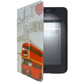New  Leather Case Cover For Kindle Touch Build In Light Lamp Red