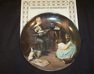 STORY TELLER NORMAN ROCKWELL COLLECTIBLE PLATE, EDWIN KNOWLES CHINA