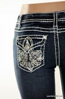 LA Idol Jeans BERMUDA Dark Blue Denim Rhinestone Thick Stitch women