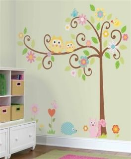 HAPPI SCROLL TREE Giant 64 Wall Mural Stickers Owls Nursery Room