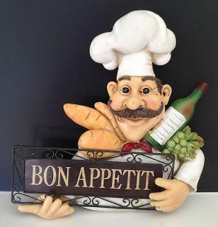 French Fat Chef Decorative Bon Appetit Wall Plaque Kitchen Decor
