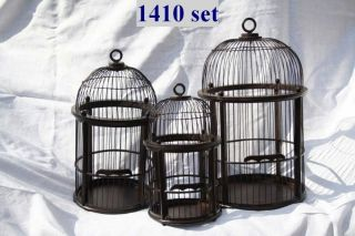 SHABBY CHIC LARGE ROUND WOOD AND WIRE BIRD CAGE