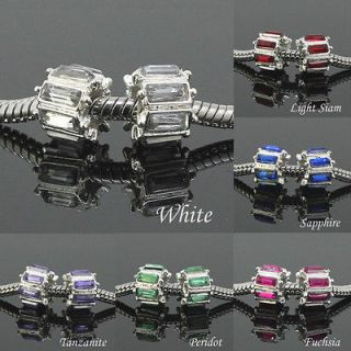 Silver Plated Crystal Rhinestone European Charm Big Hole Beads
