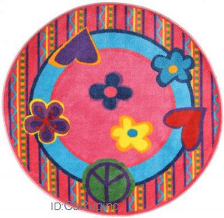 5x5 Round Rug Peace Out Time Cool Sign Heart & Love Pink 51