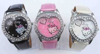 Wholesale Lot of 3 pcs Hello Kitty Heart Crystal wrist Watch 3 Color