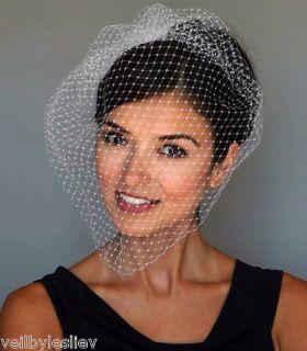Ivory LARGE Birdcage Vintage Style Bridal Veil Russian Net Veiling