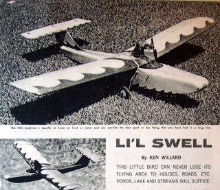 Vintage LIL SWELL 1/2A RC Amphibian Model Airplane PLAN