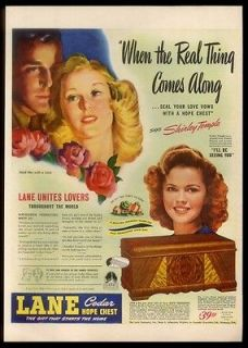 1945 Shirley Temple photo Lane cedar hope chest vintage print ad