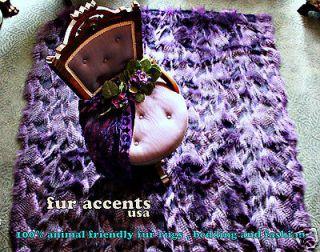 Plush Purple BEAR SKIN AREA RUG Faux Fur Accent Pelt SHEEPSKIN