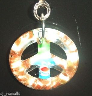 LIGHT LAMP CEILING FAN PULL PEACE SIGN LAMPWORK GLASS WHITE & GOLD