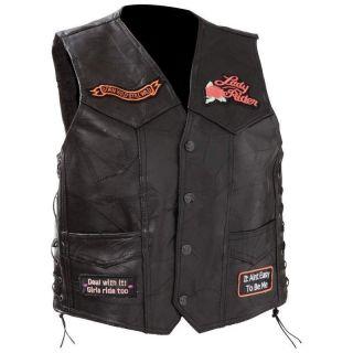 Diamond Plate Black Leather Motorcycle Rose Vest M L XL 2X GIFT