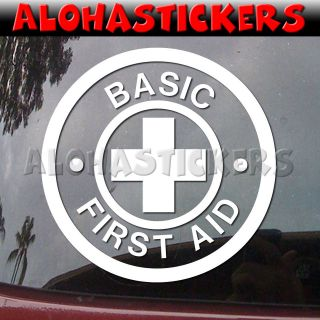 BASIC FIRST AID RED CROSS Medic Car Truck Laptop Vinyl Decal Window