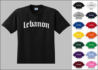 Country of Lebanon Old English Font Vintage Style Letters T shirt