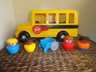 60s fisher price 983 school bus clear top rotating kids driver eyes. Black Bedroom Furniture Sets. Home Design Ideas